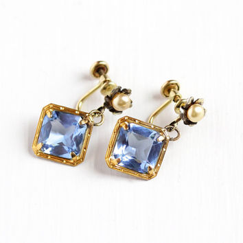 Vintage 12k Yellow Gold Filled Simulated Sapphire & Pearl Screw Back Earrings - 1930s Art Deco Dangle Drop Blue Glass Flower AMCO Jewelry