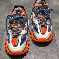 Balenciaga Track Trainers In Orange Mesh And Nylon Sports Sneakers Shoes