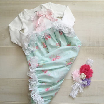 Floral Newborn Girl Take Home Outfit-Newborn Girl Coming Home Outfit-Baby Girl Outfits Layette Gown-Infant Baby Girl Sleeper Gown-Baby Girl