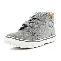 River Island Boys grey denim mid top boots