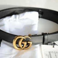 Auth Gucci MINI GG Gold Buckle Black MARMONT Belt size 80/32 fits 26-28