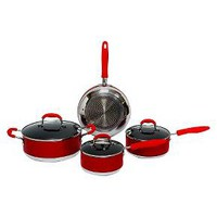 Gourmet Chef 7 Piece Induction Ready Non Stick Cookware Set - Red : Target