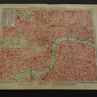 LONDON old map of London England 1905 original antique city plan about Westminster vintage detailed maps poster - 25x30c 10x12""