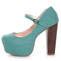 Shoe Republic LA Grand Blue Tweed Mary Jane Platform Heels - $39.00