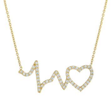 Gold Over Sterling Silver CZ Heartbeat Necklace