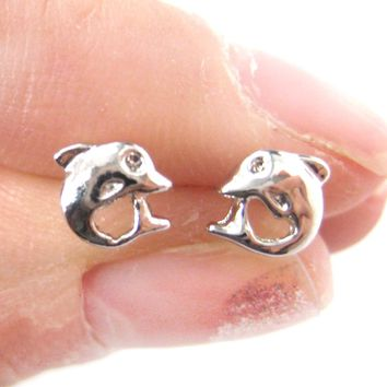 Small Dolphin Fish Sea Animal Stud Earrings in Silver | DOTOLY