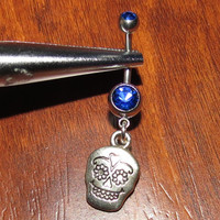 Saphire Belly Ring with Sugar Skull Dangle