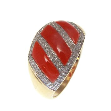 GENUINE NATURAL DEEP PINK CORAL DIAMOND RING SET IN SOLID 14K YELLOW GOLD
