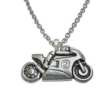 Racing Motorcycle Pendant Necklace