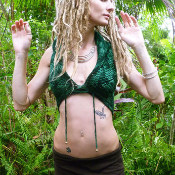 Merino Mandala Malachite Crochet Lace up Pixie Vest