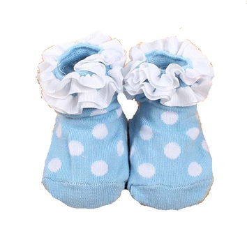 Adorable Blue and White Poka Dot Ruffled Girls Baby Sock- Non Skid