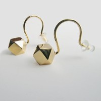 Cube octahedron earrings (silver, 24ct. gold-plated)