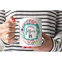 Personalized Nurse Mug RN Name Mug - N0002