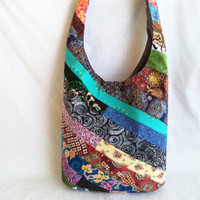 Scrap Happy Hippie sling bag/ Handmade One of a Kind bohemian bag by Boho Rain