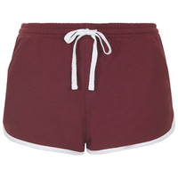Contrast Sporty Seam Runner Shorts - Burgandy