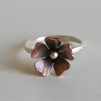 Rustic copper and silver flower ring