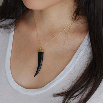 Black Tusk Necklace on Gold Fill Chain
