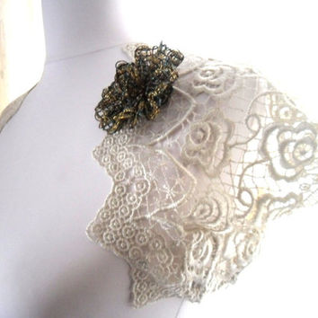 Bridal Bolero Shrug in Ivory Cream Lace - Vintage Style Wedding Jacket