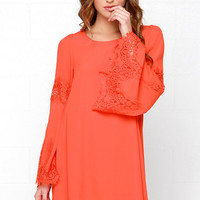Jolly-Well Coral Red Lace Swing Dress