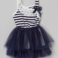 Miss Fancy Pants Navy Stripe Tutu Dress - Infant, Toddler & Girls | zulily