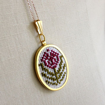 Cross Stitch Necklace Purple Plum Aubergine Flower Pendant