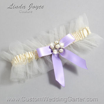 """Ivory and Lavender Tulle Wedding Garter Bridal """"Natalie"""" Silver 871 Ivory 430 Lavender Purple Prom Luxury Garter Plus Size & Queen Size"""