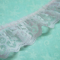 1 yard of 1 1/4 inch Pink Ruffled Chantilly Lace trim for girl, wedding, baby, altered couture, lingerie by MarlenesAttic - Item A3