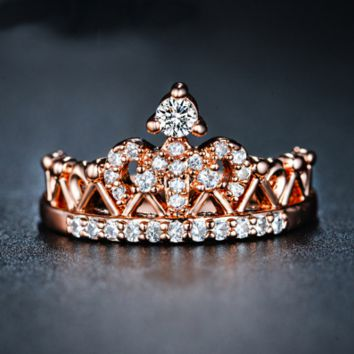 Exquisite Crown Shaped Ring Rose Gold Plated Rings