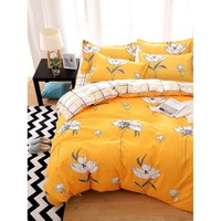 Flower Print Bed Sheet Set