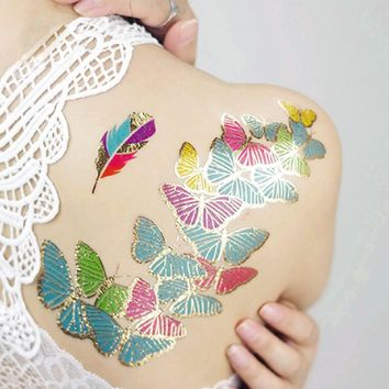 1 Pc Henna Necklace Arabian Indian Gold Flash Body Paint Tatto Glitter Fashion Color Feathers Jewelry Body Paint Metallic Tattoo