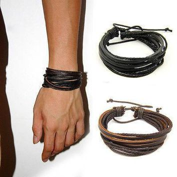 2pcs lot Unisex Charm Surfer Tribal Wrap Multilayer Genuine Leather Bracelet For Men Women Jewelry