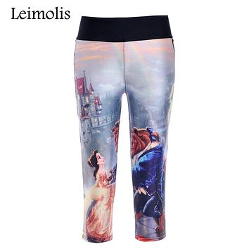 Leimolis 3D print Beauty the beast fitness push up high waist capris leggings women plus size adventure time punk rock pants