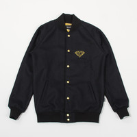 Golden Diamond Varsity Jacket in Black