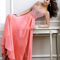 Beaded Strapless Evening Gown by Sherri Hill