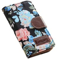 Kingsource (TM) Apple iphone 4/4s Flower Floral Style Wallet Flip Magnet Stand Leather Case Cover, Elegant Flower and Deluxe Book Style Folio PU Leather Wallet with Magnet Design Flip Case Cover, Credit Card Holder for Apple iphone 4/4s with 1 Screen Prote