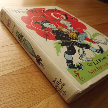 Childrens Book, The Wizard of Oz, Fairytale Vintage 1950s 1956 Chicago edition by Frank Baum