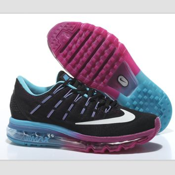 """NIKE"" Trending Fashion Casual Sports Shoes AirMax Toe Cap hook section knited Black white hook blue Purple soles"