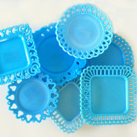 Collection of Vintage Blue Milk Glass Plates, Lace and Lattice Edge, Portieux Vallerysthal PV, Canton, Dithridge, Angel Head