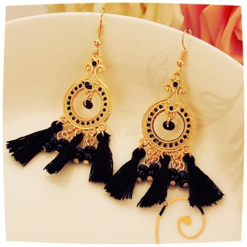 5 Colors Indian Ethnic Jewelry Earrings Gold Plated Long Plastic Beads Drop Earrings With Lines Women Christmas Gift black