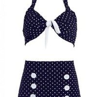 Navy Blue Polka Dot Retro Pin up Rockabilly Women's Bathing Suit Swimsuit Swimwear Bikini - X-Small