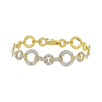 18K Gold Over Sterling Silver Diamond Accent Open Circle & Bar Link Bracelet