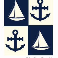Sailboat & Anchor Nautical - Original Print