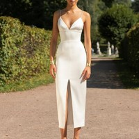 White Sweetheart Bandage Midi Dress