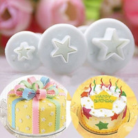 3pcs/set Star Plunger Cutter Set Fondant Mold Cutter Sugarcraft Cake Cookie Decorating Tool = 1651277572
