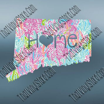 Conneticut  Heart Home Decal | I Love Conneticut Decal | Homestate Decals | Love Sticker | Preppy State Sticker | Preppy State Decal | 047