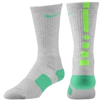 Youth Nike Elite Basketball Crew Socks - Gray/Lime