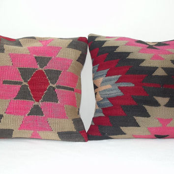 Set of 2 Pink Decorative Kilim Pillow Covers, Throw Pillow Cover, Handwoven Turkish Kilim Pillow