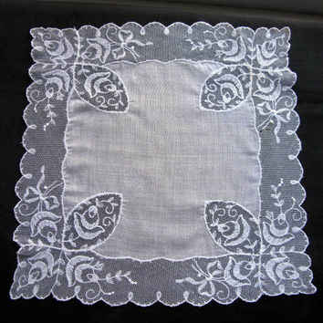 Embroidery Handkerchief for Wedding Lace Hankie