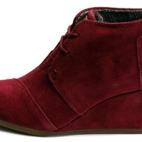 Toms Womens Desert Wedge Burgundy 10000457