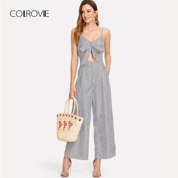 COLROVIE Cut Out Knot Front Striped Jumpsuit 2018 New Summer Mid Waist Bow Tie Backless Women Clothing Spaghetti Strap Jumpsuit